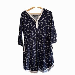 Charlie Paige navy blue anchor tunic coverup top